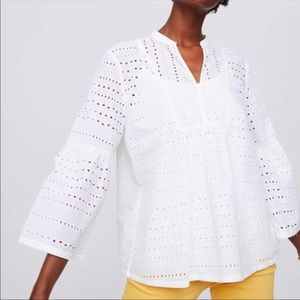 Loft, white, unlined white lace top